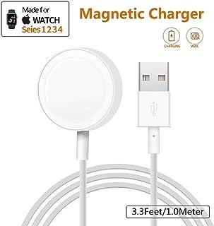 Apple Watch 充電器 マグネット式 アップルウォッチ 充電ケーブル series1/2/3/4対応 最新バージョンにも対応 急速充電 携帯便利 ホワイト