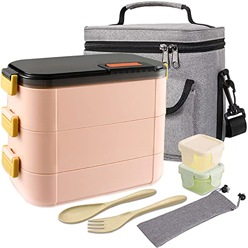 HOMESPON with Lunch Bag Stainless Steel Bento Box Salad Lunch Container, Leakproof Lunch Box for Kids & Adults, Built-in Reusable Wheat Straw Spoon/Fork & Food Grade Salad Dressing Box (pink,3 tiers)