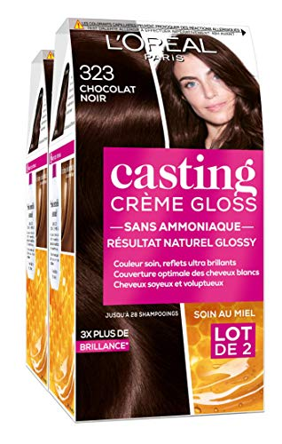 L'Oréal Paris Casting Crème Gloss Coloration Ton sur Ton pour Cheveux - Sans Ammoniaque - Chocolat Noir (323) - Lot de 2