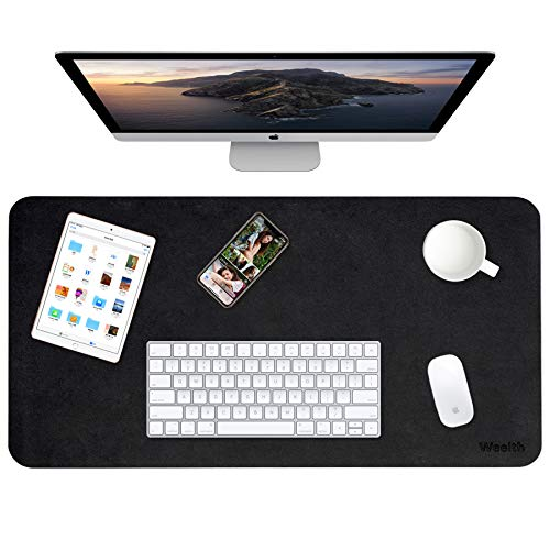 Weelth Multifunctional Office Desk Pad, Waterproof Desk Pad Protector PU Leather Dual-Sided Desk Writing Pad for Office/Home