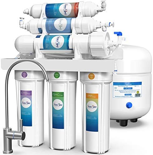 SimPure 6 Stage Reverse Osmosis System T1 - Alkaline Mineral pH+ Water Filtration System - 75 GPD Under Sink Water Filter - NSF Certified RO Membrane with Stainless Faucet and Pressure Tank