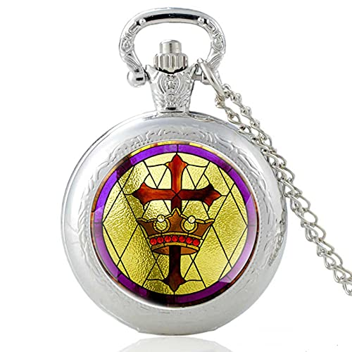 TUDUDU Vintage Holy Christian Cross Crown Design Reloj De Bolsillo De Cuarzo Reloj Colgante Reloj Hombres Mujeres Collar De Cúpula De Cristal Regalos Longitud De Cadena Aproximadamente 80 Cm