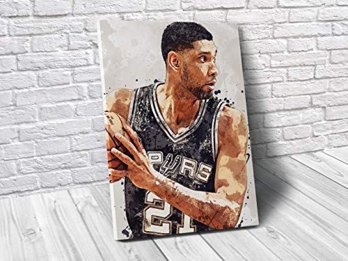 Tim Duncan San Antonio Spurs Poster/Canvas Print - Basketball Artwork - Kids Room Wall Decor - Man Cave - Sports Decor - Birthday Gift Idea (Premium Canvas, 12 x 16 Inches) image