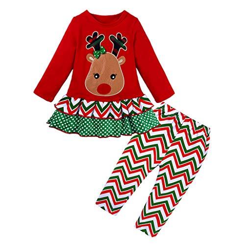 Hui.Hui Vêtements de Bébé Filles Noël Ensemble Enfants de Jupe Plaid Cerf Imprimé Longues Manches Vêtements et Rayures Pantalons Costume Hiver