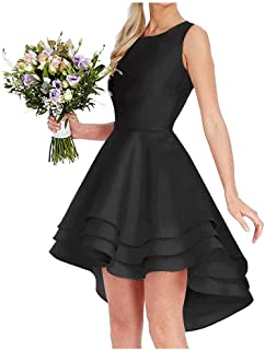 Jonlyc 2019 Simple A Line High Low Homecoming Dress for Juniors Short Prom Bridesmaid Dress