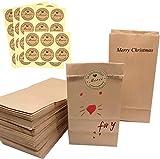 40 Sac en Papier Kraft,Sachet Papier Kraft avec 40 Merci Étiquettes Pochette Kraft,Sac Cadeau,Sacs Kraft Alimentaire,Petit Sac à Pain Sacs de fêtes/anniversaire