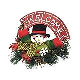 LAPONO Ghirlanda di Natale,Corona di Natale Natalizia per Porta Esterno Pupazzi di Neve Ghirlanda di Rattan ecorazione Natalizia per Feste di Natale Decorativa, da Appendere alla Porta o alla Parete