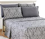 LDC Queen Bed Sheets Set - Queen Sheets Brushed Microfiber 1800 Thread Count Bedding - Wrinkle, Stain, Fade Resistant - Deep Pocket Queen Size Sheets Set - 6 PC (Queen, Paisley Grey)