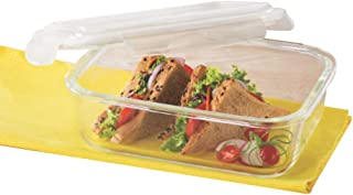 Borosil Klip N Store Glass Food Container, 1 L Rectangle, For Kitchen Storage With Air Tight Lid - Microwave Safe