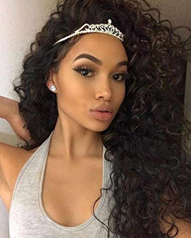 Auspiciouswig lockiges Virgin Brazilian hair Full Lace Front Perücken 150% Dichte Natürliche Farbe Echthaar Perücken für Damen schwarz