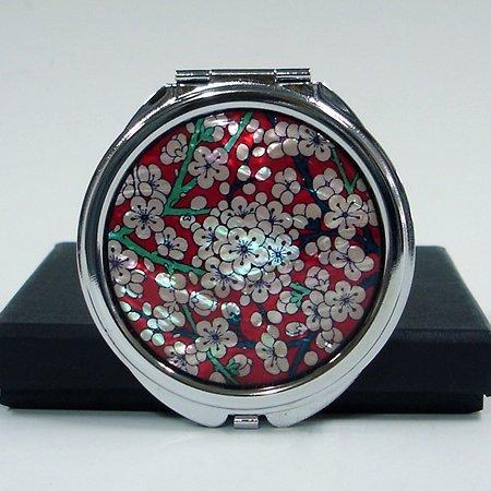 Maehwa Miroir de poche rond en métal avec motif de fleurs rouges et blanches