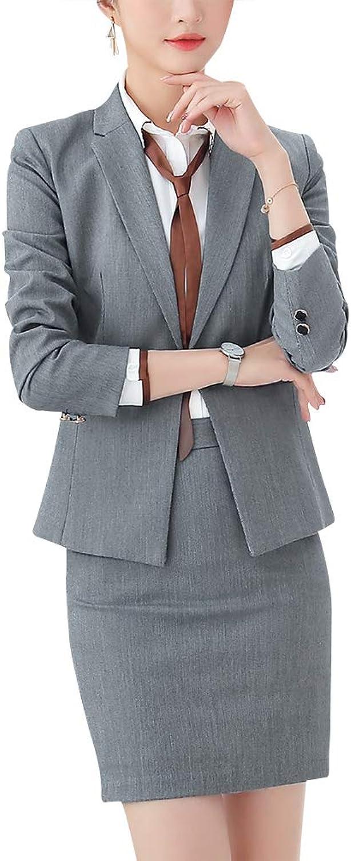 LISUEYNE Women's Casual Work Office Blazer Suit Solid Business Suit Set Slim Blazer Jacket&Pant Skirt
