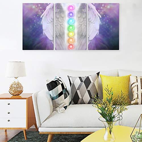 Veryday Cuadro de pared con alas de ángel y chakra sobre lienzo, 3 piezas, decoración de pared para salón, dormitorio, sin marco, color rosa, 30 x 40 cm