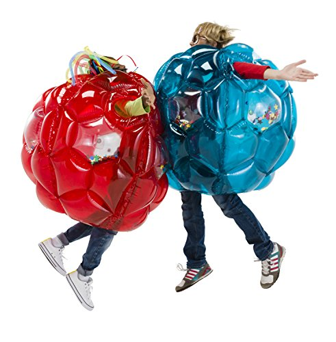 """HearthSong Set of Two 36"""" Red and Blue Bright Lights Inflatable Buddy Bumper Balls with Colorful Confetti and Motion Activated LED Lights, Holds Up to 150 lbs."""