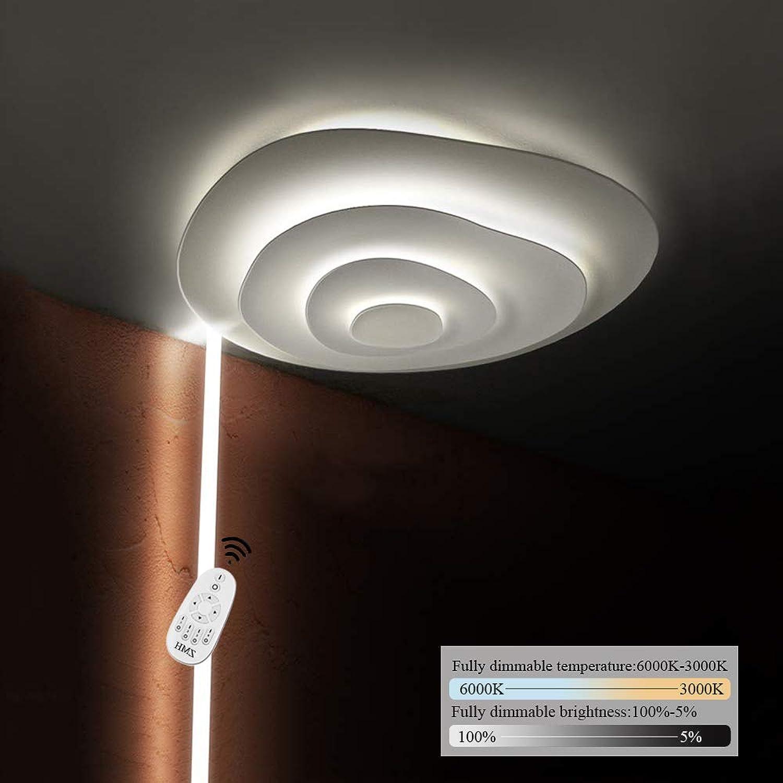 LED Deckenleuchte I ZMH Deckenlampe 47cm 47W Dimmbar mit der Fernbedienung, Farbewechsel stufenlos dimmbar warmwei neutralwei kaltwei Deckenlampe Jahresring-Design Flur Wohnzimmer (47cm)