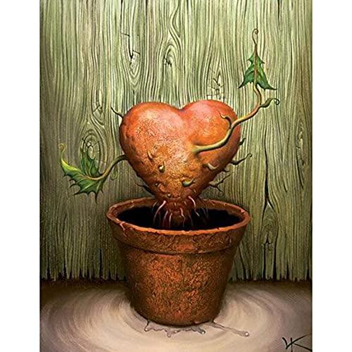 ANnjab Pintura de Diamante Punto de Cruz árbol del corazón 5D DIY Bordado de Diamantes Cuadrado Completo Diamante de imitación de Imagen (Cuadrado 50x60cm)