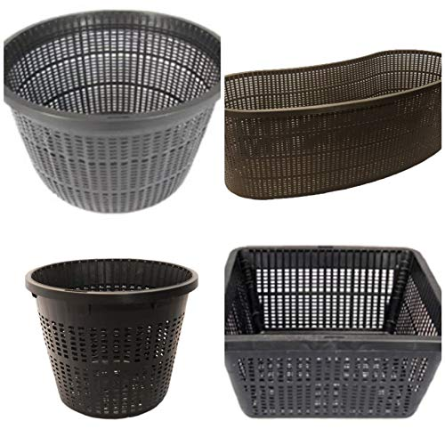 Medium Sized Plastic Mesh Aquatic Pond Planting Baskets Combo Pack, Includes Total 8 Water Garden Pond Plant Plastic Slotted Mesh Plant Pots for Aquaponics and Hydroponics Water Garden Pond Planters