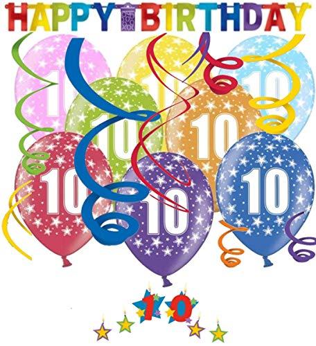 Libetui Geburtstag Dekoration Deko-Set 'Stern' Kindergeburtstag Happy Birthday Bunte Partykette farbenfrohe Girlande Spirale Luftballons und Geburtstags-Kerzen (10. Geburtstag)