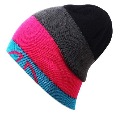 Womens Heren Winter Warm Gebreide Beanie Hoed Zachte Gedrukte Schedel Cap voor Skiën Paar Kerstcadeau roze