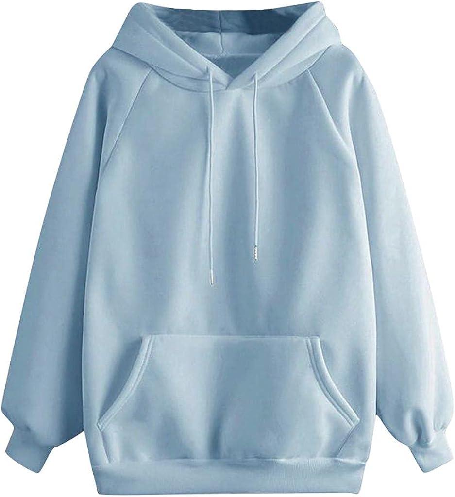 Toeava Sweatshirts for Women,Women's Fashion Solid Hoodie Pullover Teen Girls Drawstring Hooded Sweatshirt with Pocket