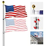 OUTNEE 25FT Flagpole Telescoping Flag Pole Kit Extra Thick Aluminum Flagpole Fly 2 Flags, Outdoor In Ground Flagpole with 3x5FT American Flag for Outside Yard/Residential/Company.