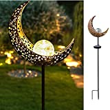 HDNICEZM Garden Solar Light Outdoor Decorative, Moon Crackle Glass Globe Stake Metal Lights,Waterproof Warm White LED for Pathway, Lawn, Patio, Yard