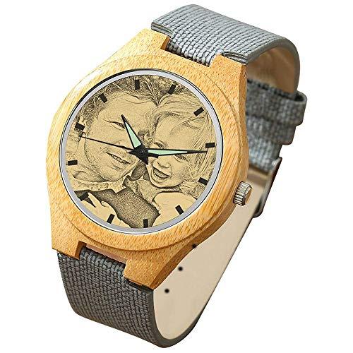 Alskafashion Reloj de Madera Personalizado del Grabado del Mensaje del Reloj de la Foto para el Regalo (Gris)