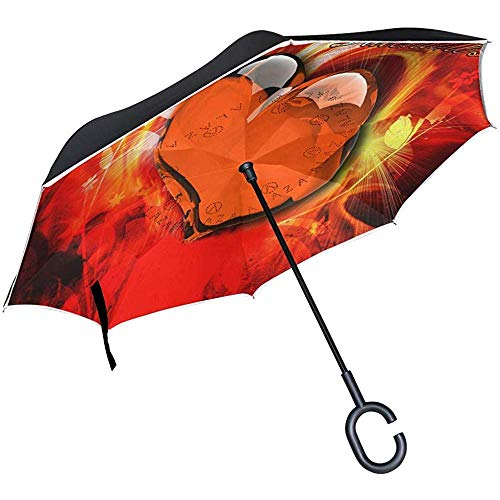 Reverse Umbrella Best Love Wallpaper Inverted Umbrella Reversible for Golf Car Travel Rain Outdoor Black