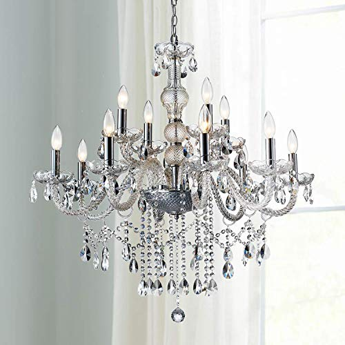Saint Mossi 12-Lights Crystal Chandelier Light Fixture and K9 Crystals for Bedroom Room with H32