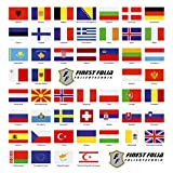 Finest Folia - Set di 50 bandiere nazionali su 2 fogli DIN A4, ogni bandiera 4,9 x 3,3 cm, adesivi per modellismo, bicicletta, auto, moto, paesi Europa R108