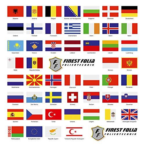 Finest Folia - Juego de 50 banderas de países en 2 hojas DIN A4, cada bandera mide 4,9 x 3,3 cm, pegatinas para modelismo, bicicleta, coche, moto, decoración de países europeos R108