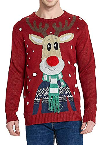 Daisyboutique Men's Christmas Rudolph Reindeer Holiday Sweater Cardigan Cute Ugly Pullover (X Large, Rudolph-with-Scarf)