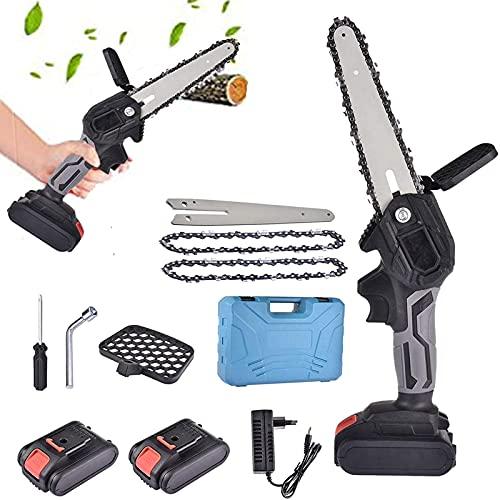 CYXY Mini Motosierra de batería, Mini Kit de Motosierra eléctrica portátil inalámbrica de 6 Pulgadas, Tijeras de podar Motosierra, para podar Ramas de árboles, Cortar Madera y jardinería, Negro