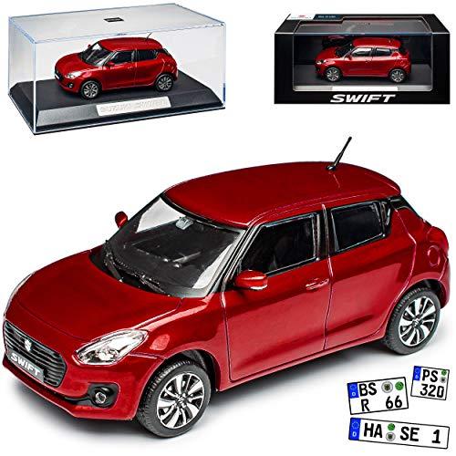alles-meine.de GmbH Suzuki Swift Sport 5 Türer Rot 6. Generation ab 2017 mit Sockel und Vitrine 1/43 Modellcarsonline Modell Auto mit individiuellem Wunschkennzeichen
