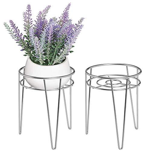 mDesign 2er-Set Midcentury Pflanzenständer für Blumen, Sukkulenten aus Metall – runder Blumenständer im modernen Design – vielseitig nutzbare Blumensäule für drinnen und draußen – silberfarben