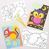 Baker Ross Imágenes Animales del Bosque Sand Art (Paquete de 8) - Artes y Manualidades para Niños, Varios Colores