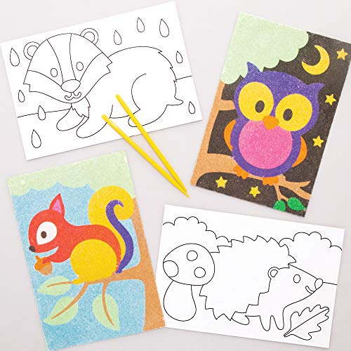 Baker Ross AW883 Woodland Animal Sand-Kunstbilder, für Kinder, 8 Stück, Sortiert
