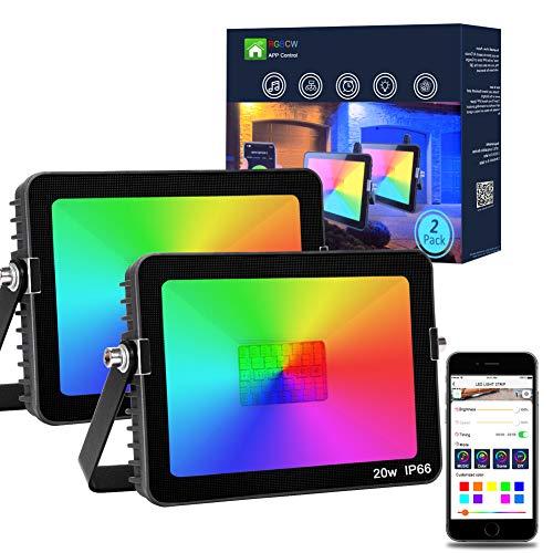 2Pack 20W RGB LED Strahler, Bluetooth Intelligentes Flutlicht, Farbwechsel Außenstrahler IP66 Wasserdicht, Bunt Flutlicht mit Memoryfunktion für Garten, Party Deko, Zimmer [Energieklasse A++]