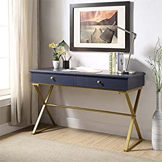 Riverbay Furniture Writing Desk in Blue and Gold