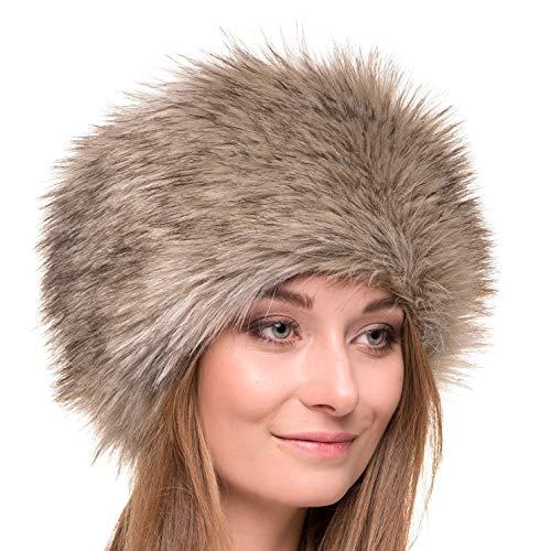 Futrzane Gorro de Mujer de Piel Cossack en Estilo Ruso (M, Tundra...