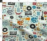 Musik, Rock'N'Roll, Trommel, Gitarre, Band Stoffe -