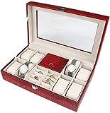 Multifunctional Caja de joyería caja de joyería de joyería y caja de exhibición con espejo para pendientes reloj collar joyas joyas joyas caja de almacenamiento accesorios sartén (color: rojo)