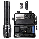 BRIGHTEK Flashlights High Lumens, Tactical Rechargeable Flashlight with Holster Super Bright 2000 CREE LED XML-T6, Zoomable, Best for Camping Emergency, Handheld big Torch with 18650 Battery & charger