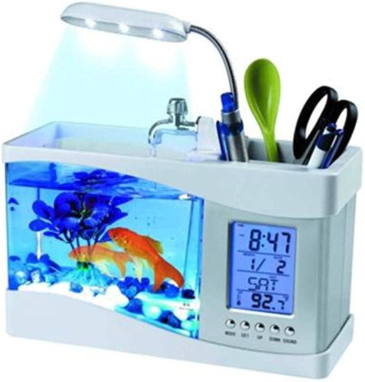 ANLKYIQI Best Gift Mini Desktop LED Lights Calendar Alarm Clock With Pump USB Desktop Electronic Aquarium Fish Tank