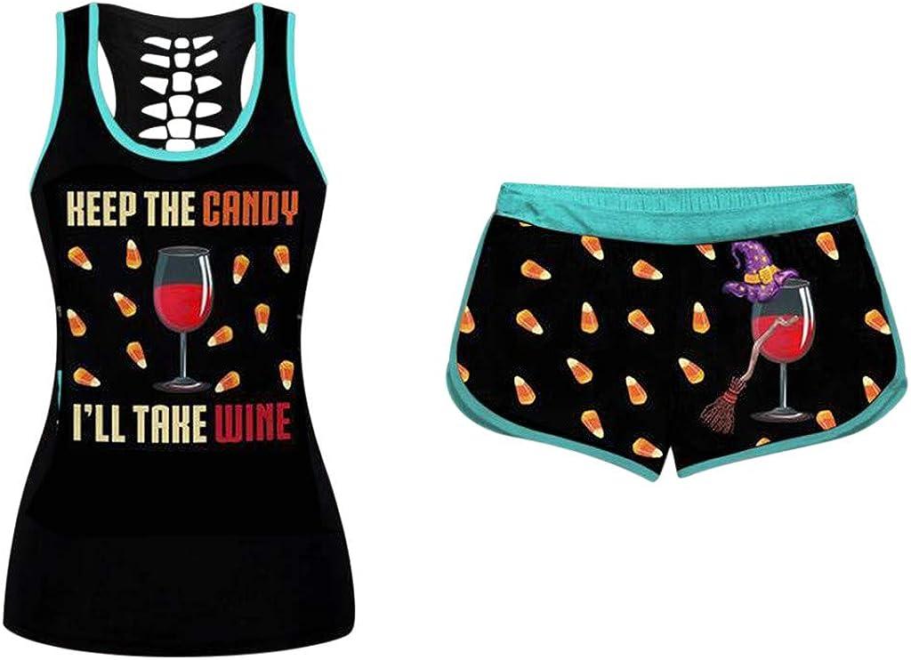 Halloween Outfits for Women Funny Pumpkin Shirt Drawstring Shorts Tracksuits Activewear Yoga Loungewear 2 Piece Set