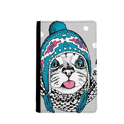 Cat hoofd de smaak van sneeuw kat beschermen dier huisdier paspoort houder reizen portemonnee hoesje kaart portemonnee
