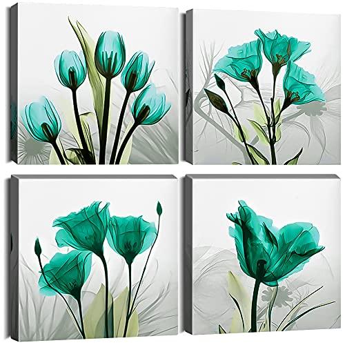 Ohok Impression sur Toile en 4 pièces Tableau Décoration Murale 30 x 30 cm Peinture de Modèle d'art Décorative Avec Cadre en Bois pour la Maison Salon Chambre Cuisine Bureau (Tulipe)