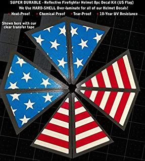 High Performance Vinyl Graphics LLC Reflective US Flag Triangle Firefighter Helmet Decal Kit 8pcs Laminated 0188