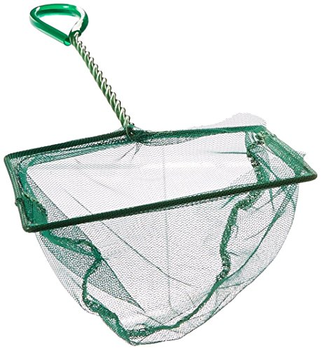 lasenersm 8 Inch Fish Net Fish Tank Net with Plastic Handle for Aquarium, Green