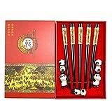 Mainiusi Set di bacchette cinesi con resto bacchette in legno riutilizzabili con supporto ...
